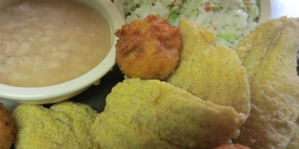 All you can eat handbreaded catfish here every Friday night served with homemade white beans, slaw, and hushpuppies.