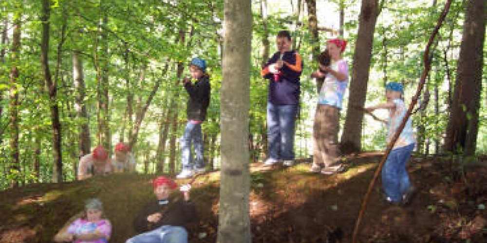 Students gather in a section of the trenches dug by the militia over 100 years ago – Coal Creek Watershed Foundation, Inc.