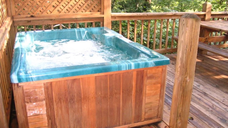 Each cabin has a hot tub