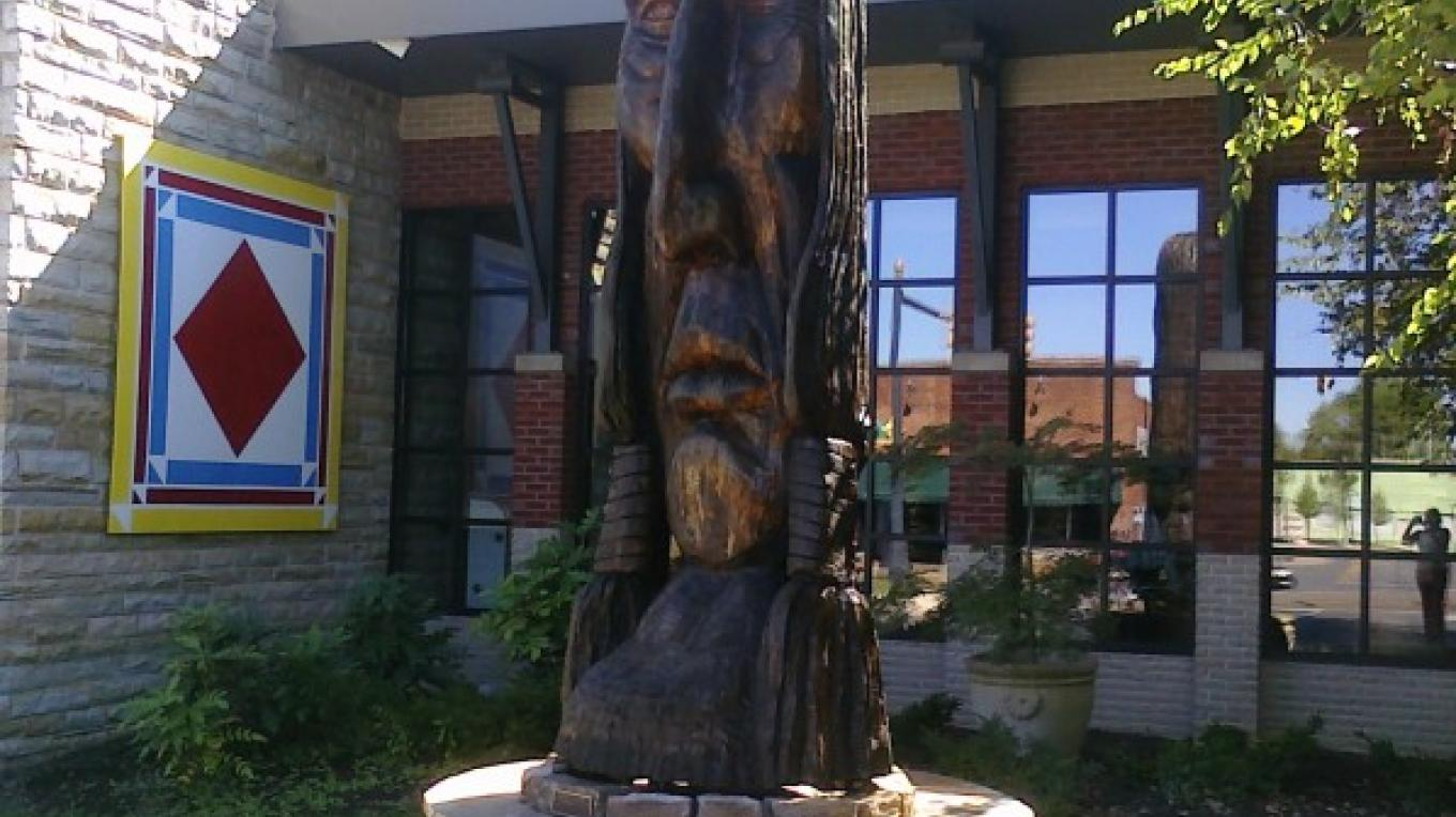 The Cherokee Chieftain sculpture stands majestically in front of the Museum Center at 5ive Points. – Melissa Woody