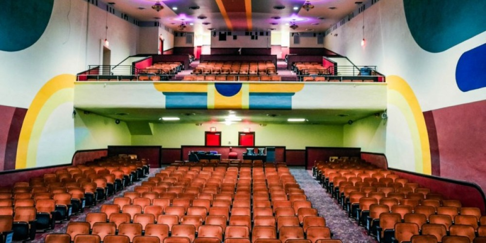 Today's newly restored interior with modern seating, sound, and lighting. – J. Paul Mashburn