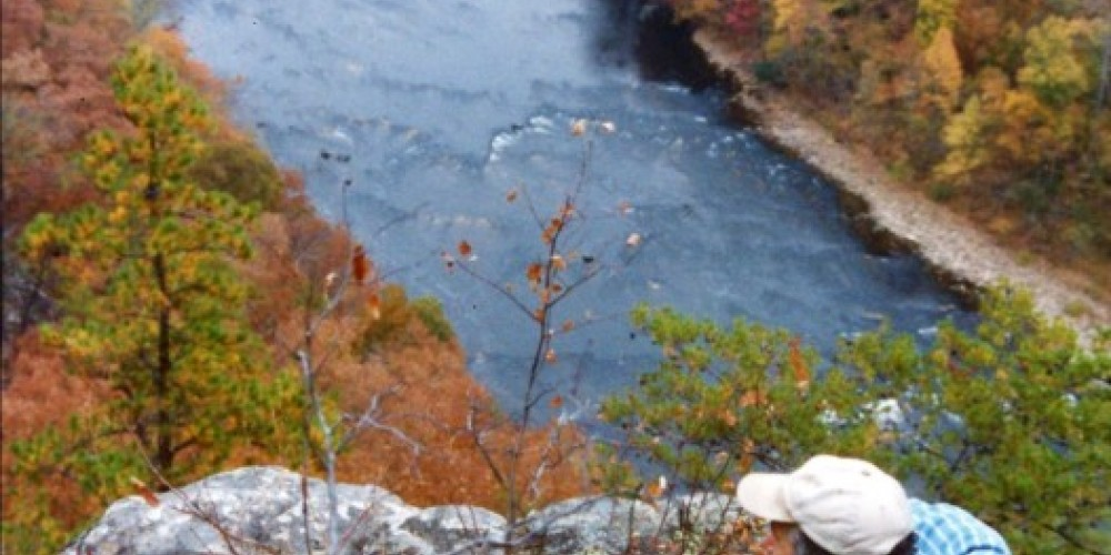 View of the French Broad River from the Chimney Rock Trail from Weavers Bend in Cocke County – Leslie Gibbens