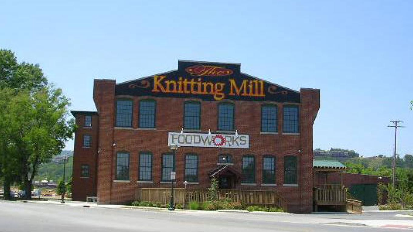 East end of The Knitting Mill that once housed its offices.  Now it is the home of FoodWorks. – Lynn Short