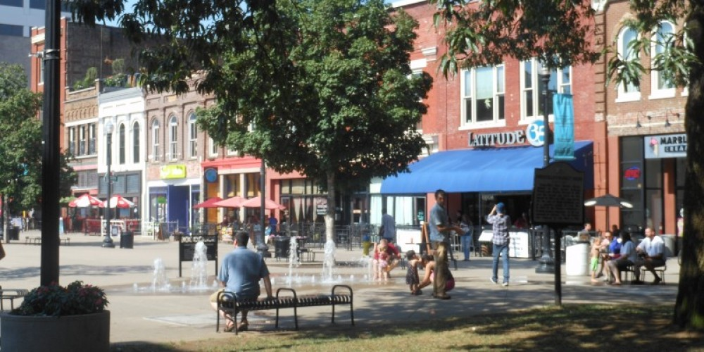 Market Square's sidewalk fountains are a hot weather favorite for parents and children. – Cherel Henderson