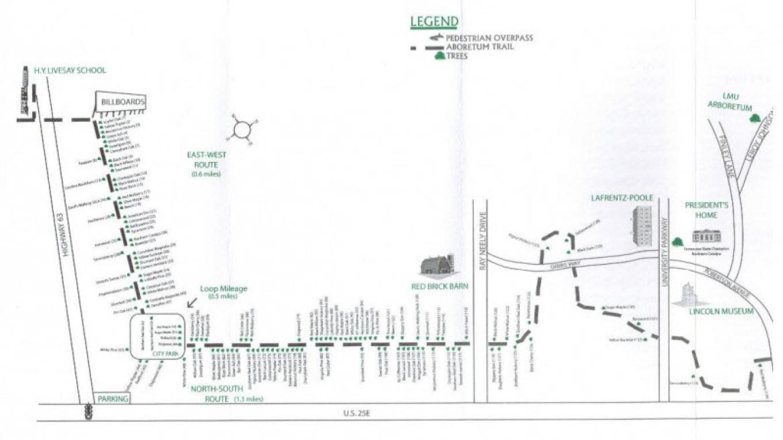 Map of Daniel Boone Arboretum