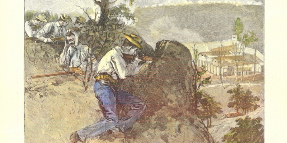 Harpers Weekly magazine drawing from time of Coal Creek War showing site of Ft. Anderson on Militia Hill