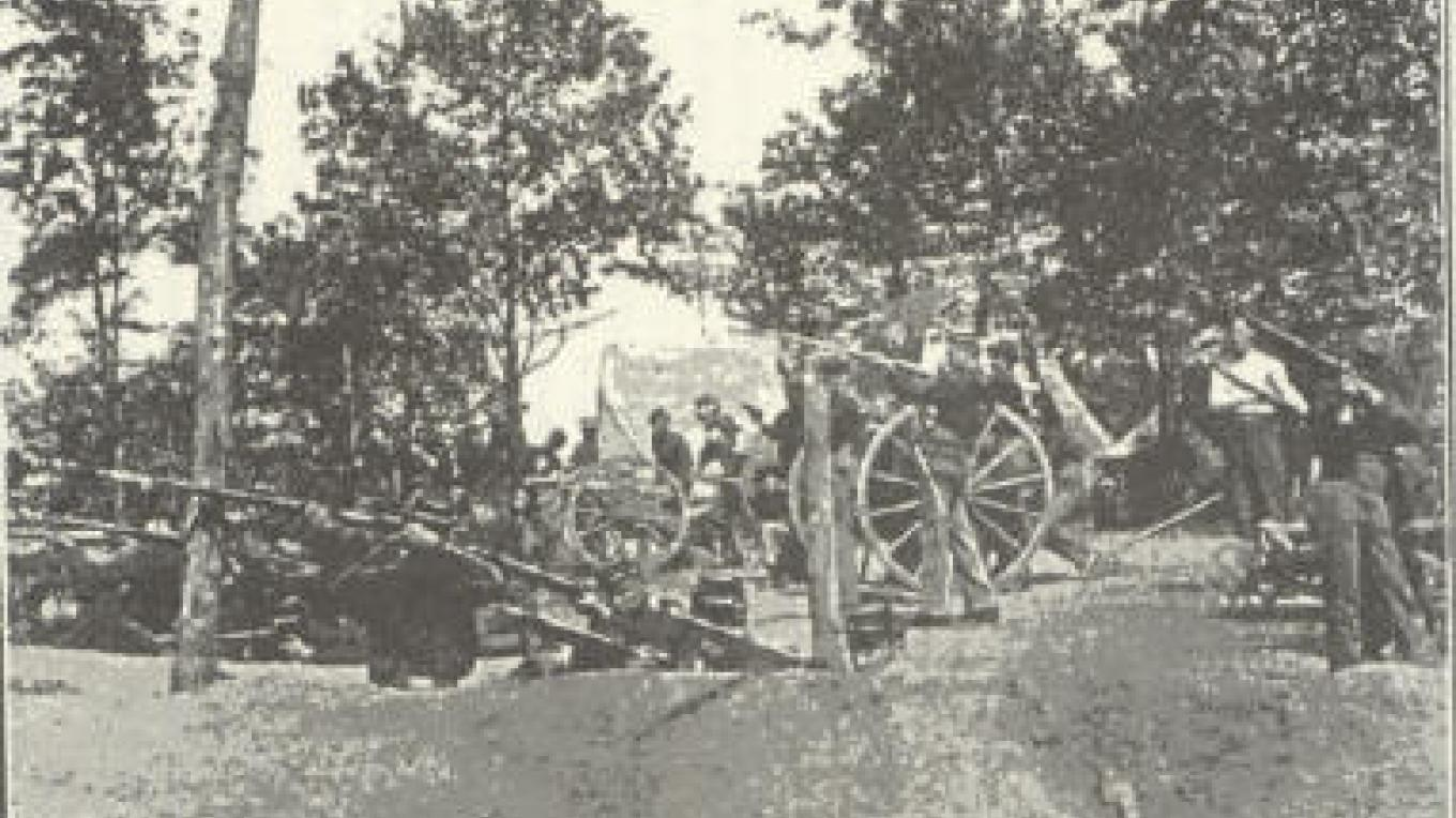 Photo of cannon on Militia Hill during Coal Creek War