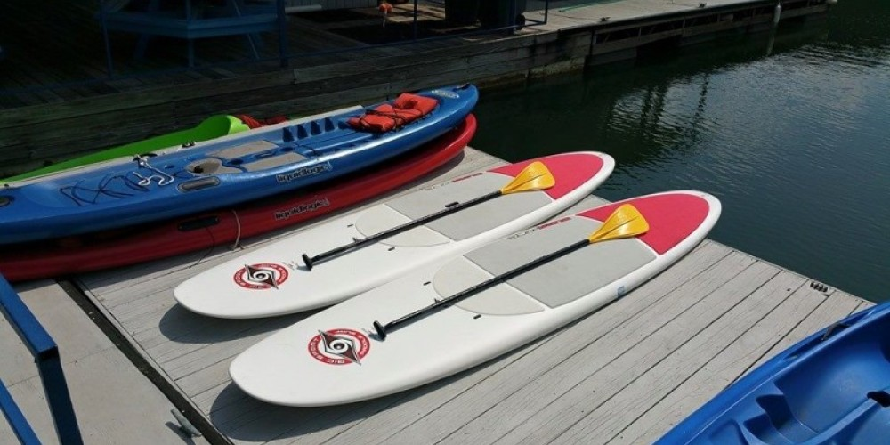 Stand up paddleboards at Boundary Waters Resort & Marina on TVA Lake Chatuge in Hiawassee, GA. – Kevin Clem