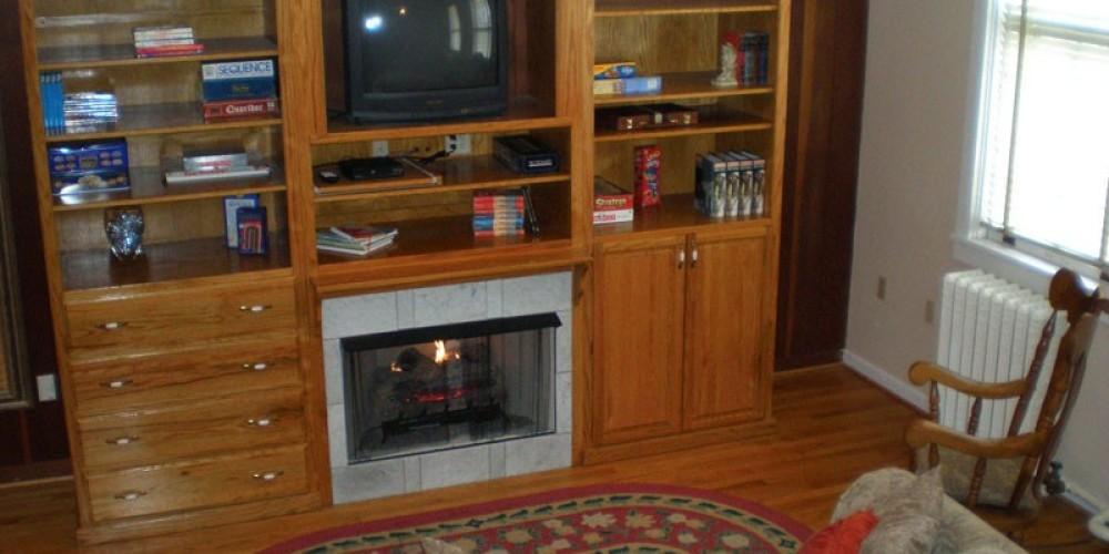 Recreation room with gas-log fireplace. – Radonna Parrish