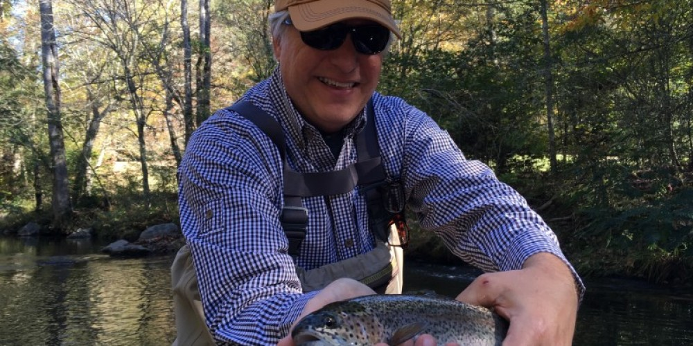 A typical trout caught while fly fishing with an Orvis guide on Hesse Creek.  They do get a lot bigger in size, but this one is a nice average for this creek. – Kenny Markanich