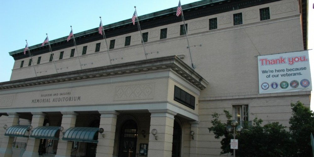 Soldiers and Sailors Memorial Auditorium in Chattanooga, Tennessee. The cornerstone was laid on November 11, 1922-Veterans Day to honor and remember those from the greater Chattanooga region who have served in the armed force – City of Chattanooga Dept. of Education, Arts & Culture