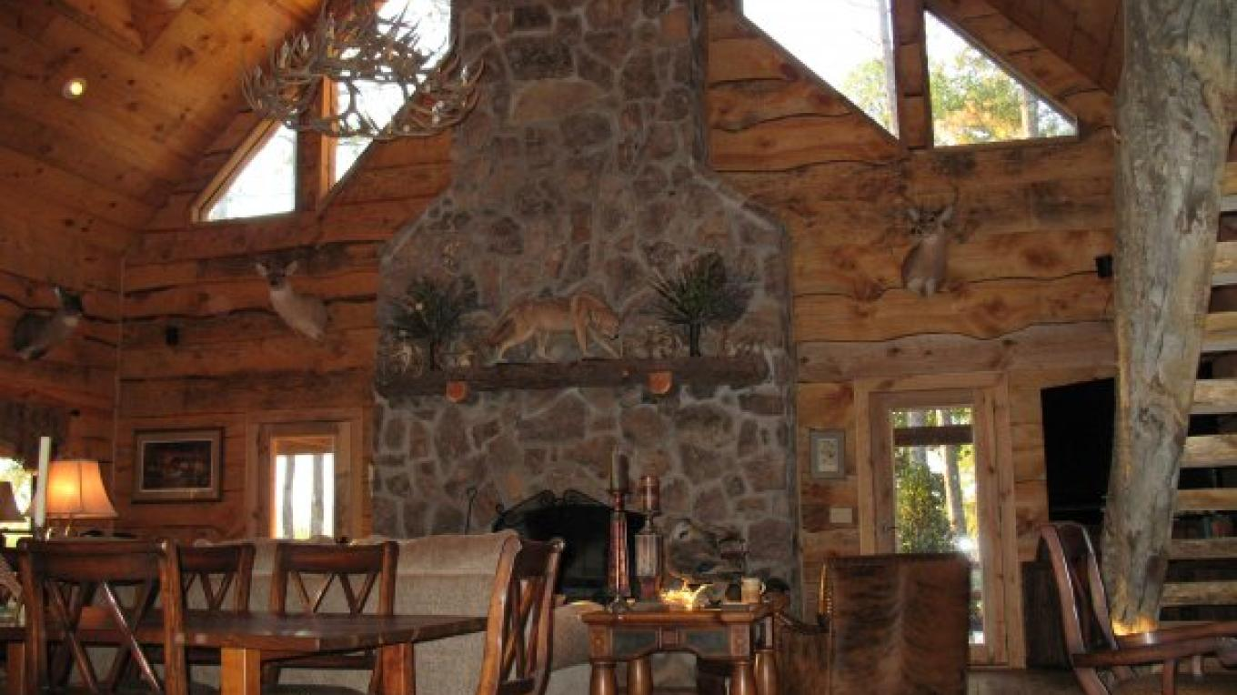 Beautiful Rock Fireplace in Lodge