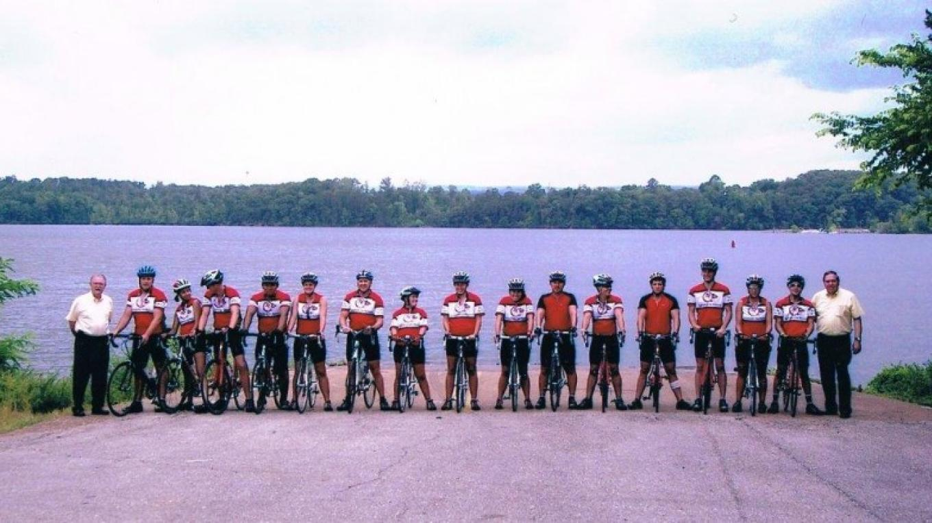 Trail of Tears Bike Riders at Blythe Ferry Boat Ramp. – Gloria Schoggins