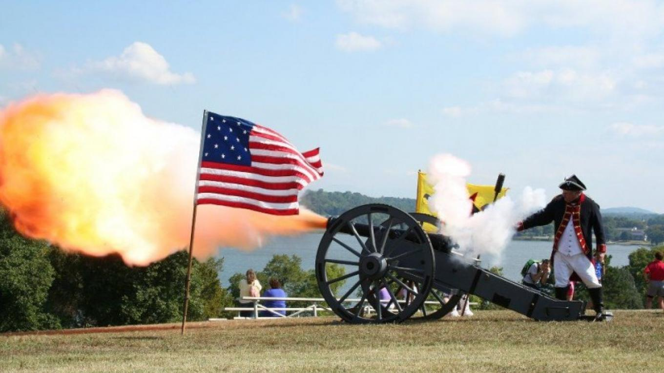 Firing of the cannon during the Storm the Fort Triathlon, August 2011 – Pam May