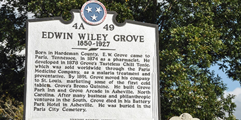 Edwin Wiley Grove, philanthropist and businessman, is fondly remembered for endowing the town's first public high school in 1906. – Jean Owens