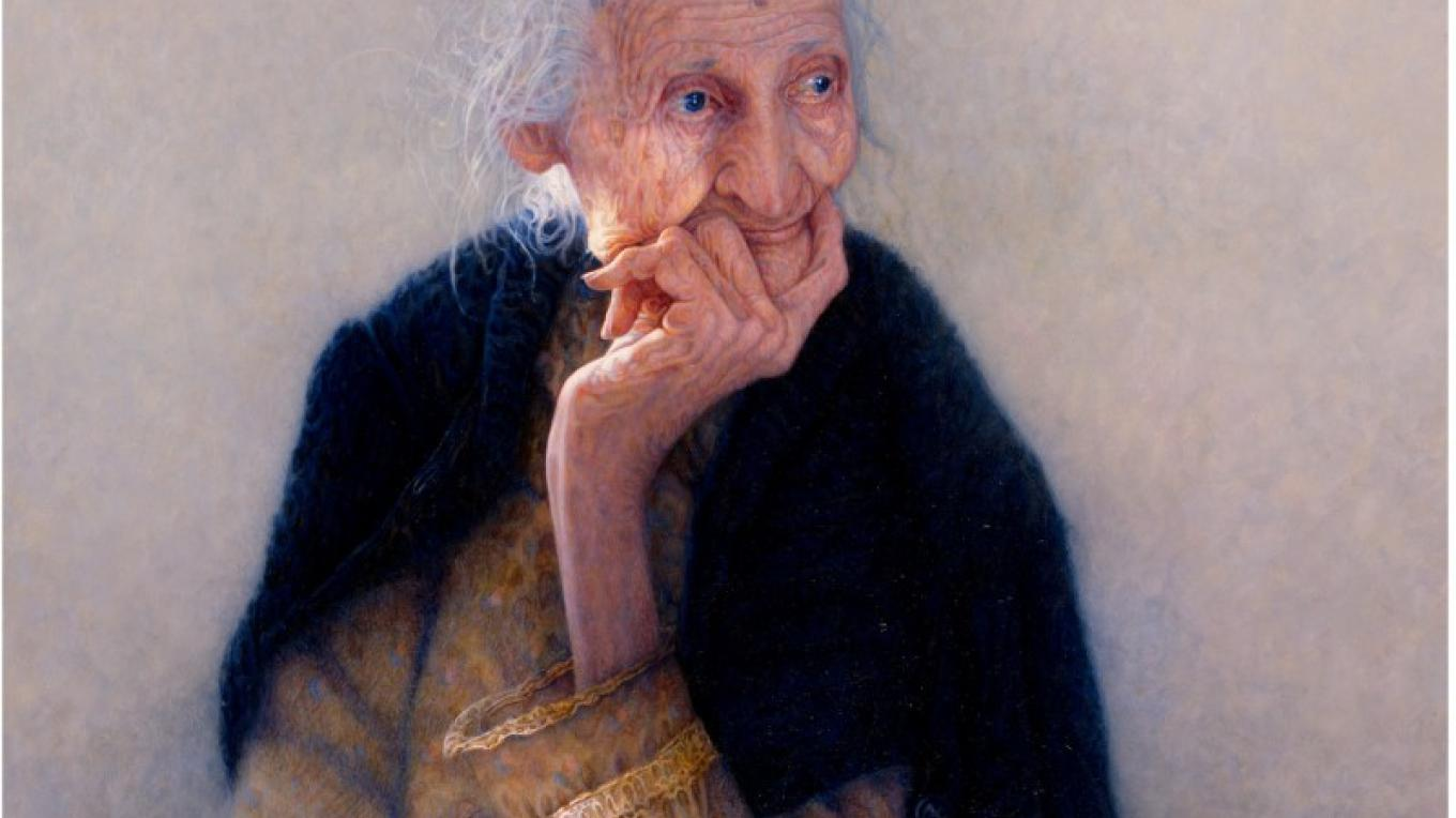 Aunt Emily 103 yrs old never been more than 6 miles from home...she made everything she needed – oil by artist Paul Murray