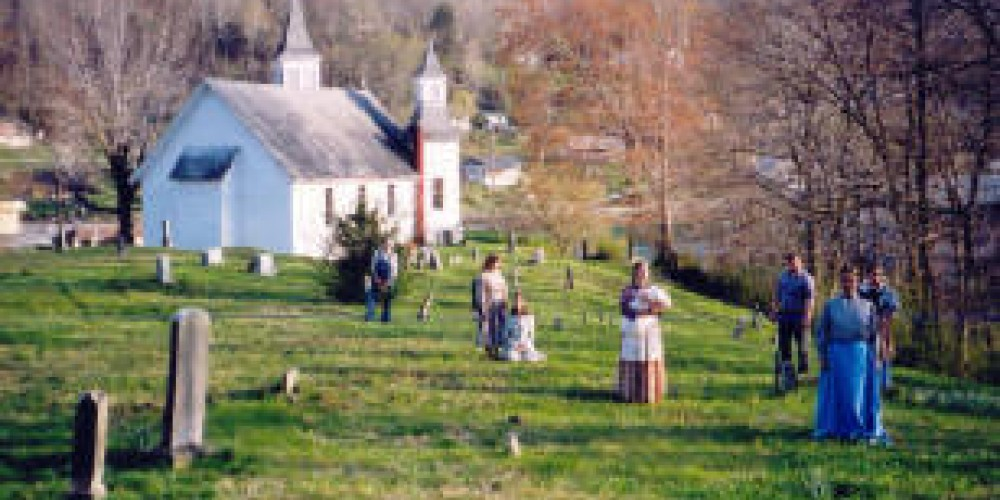 Knoxville Actors Co-op among the headstones in Briceville Church Cemetery – Coal Creek Watershed Foundation, Inc.