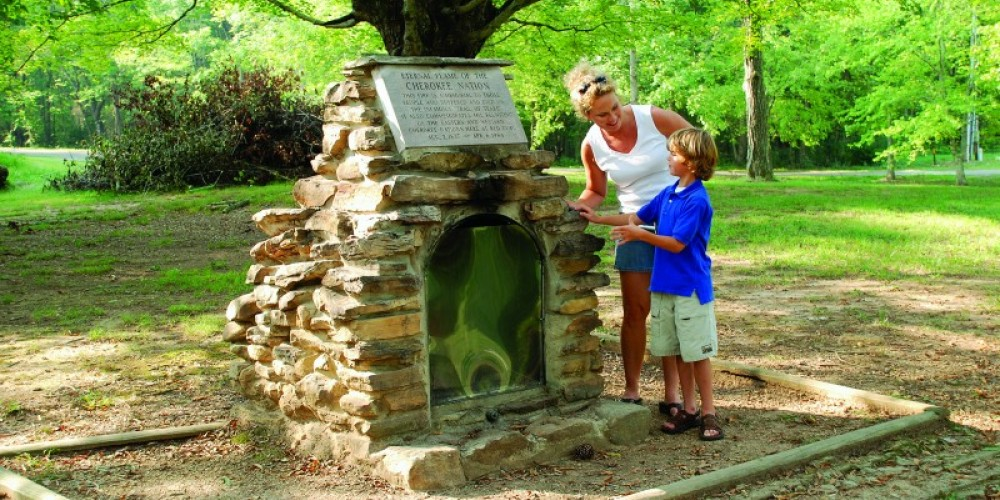The Eternal Flame of the Cherokee Nation burns at Red Clay. – Brent Templeton