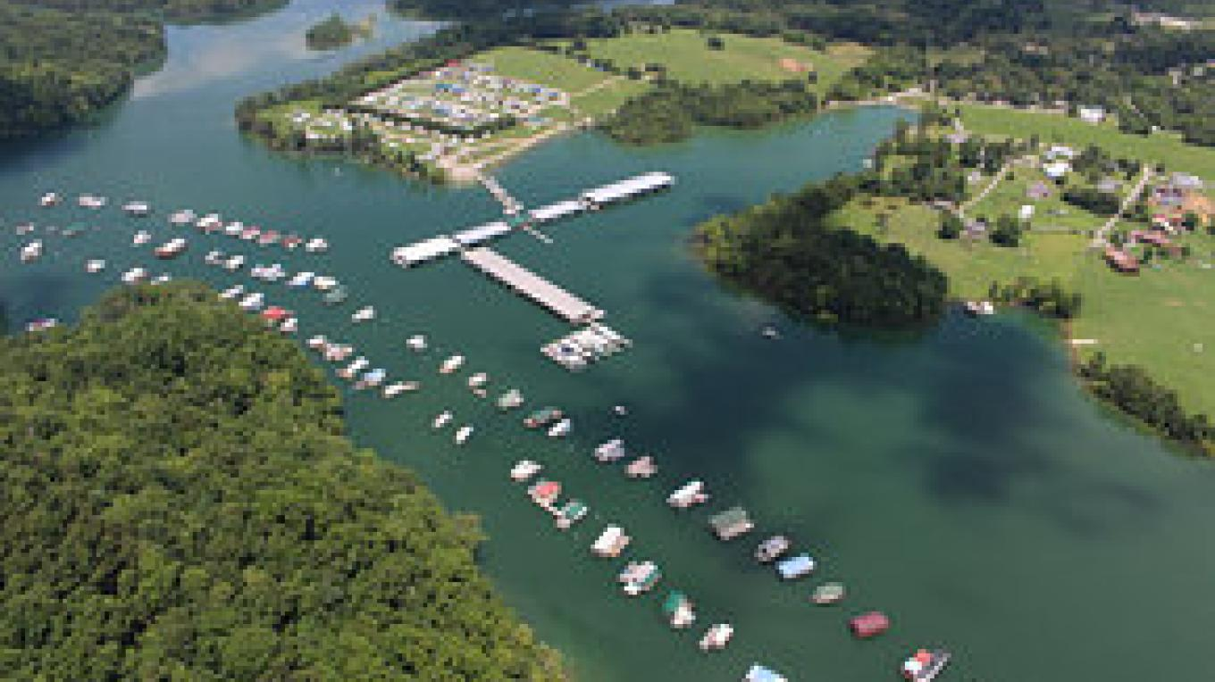 Aerial view of Marina and Campground