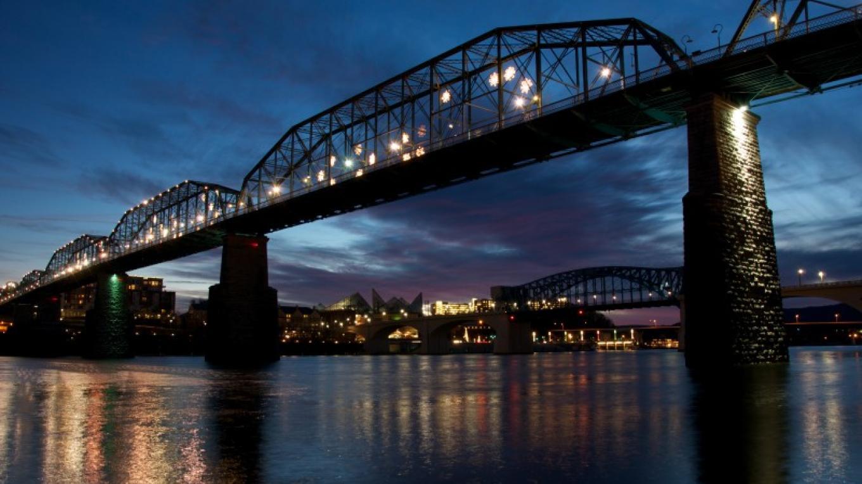 Walnut Street Bridge at night – A. Romney Breon