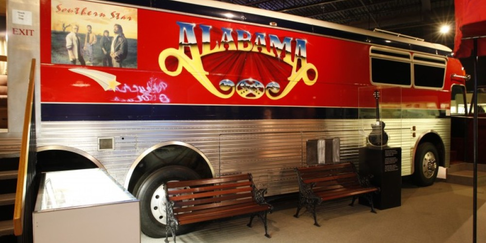 The tour bus of famed country music group Alabama is on display at the Alabama Music Hall of Fame. – Glenn Wheeler