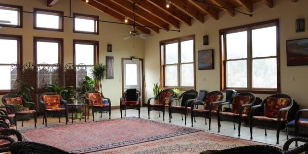 The Well Being Center's meeting room is a large, vaulted, air-conditioned space with views across the Powell River valley. There is a huge deck for outside dining. The Meeting Room can seat over 50 people.