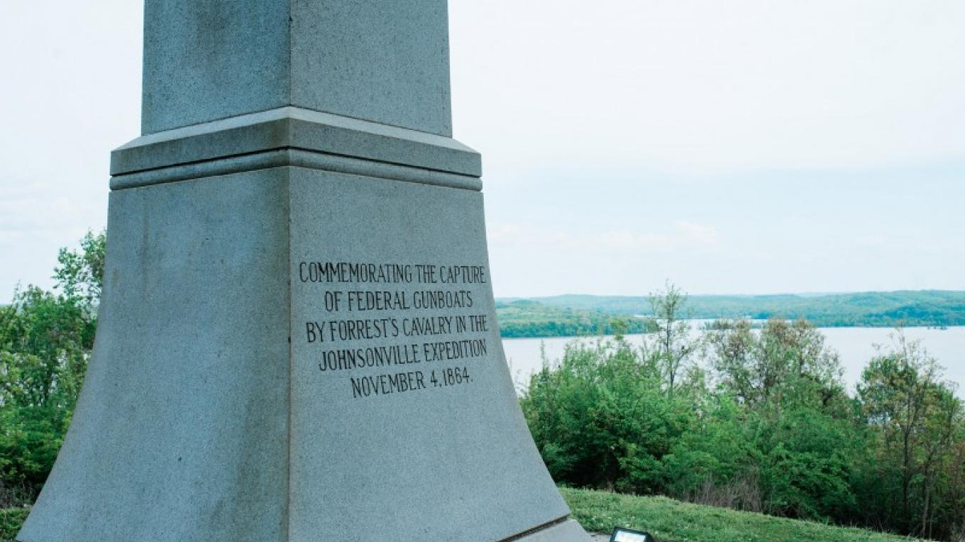 Monument commemorates the capture of federal gunboats by Forrest's calvary in the Johnsonville Expedition – Cari Griffith