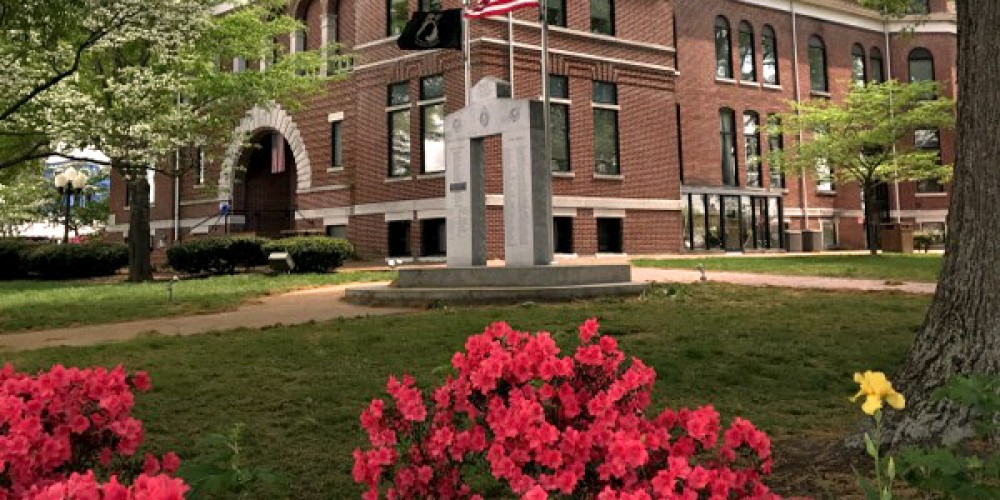 The courthouse lawn is beautiful in the springtime with a colorful foreground of azaleas and Tennessee's state flower, the iris. – Susan Jones