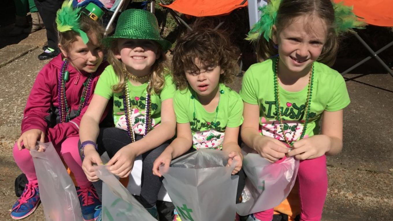 Little Leprechauns waiting at the parade for candy and necklaces! – Susan Jones