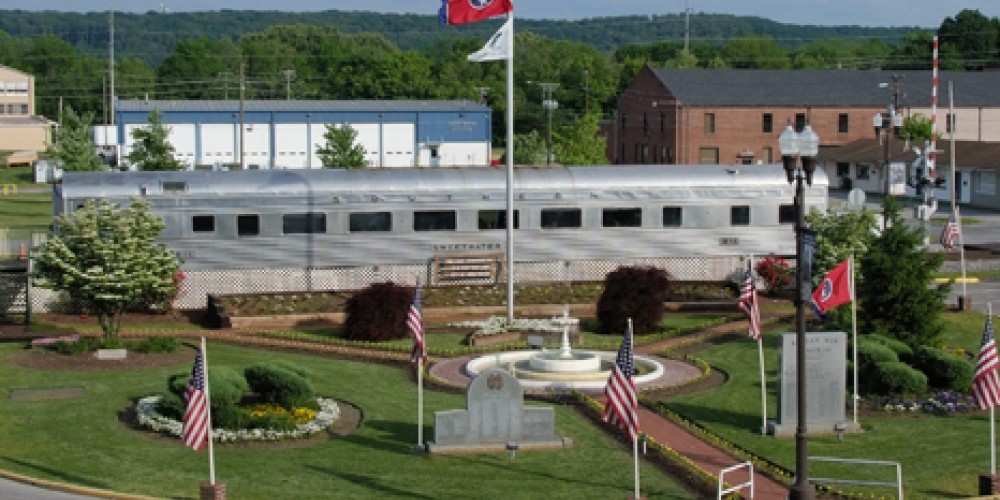 View of Sweetwater Train Car in Circle Park on Main Street