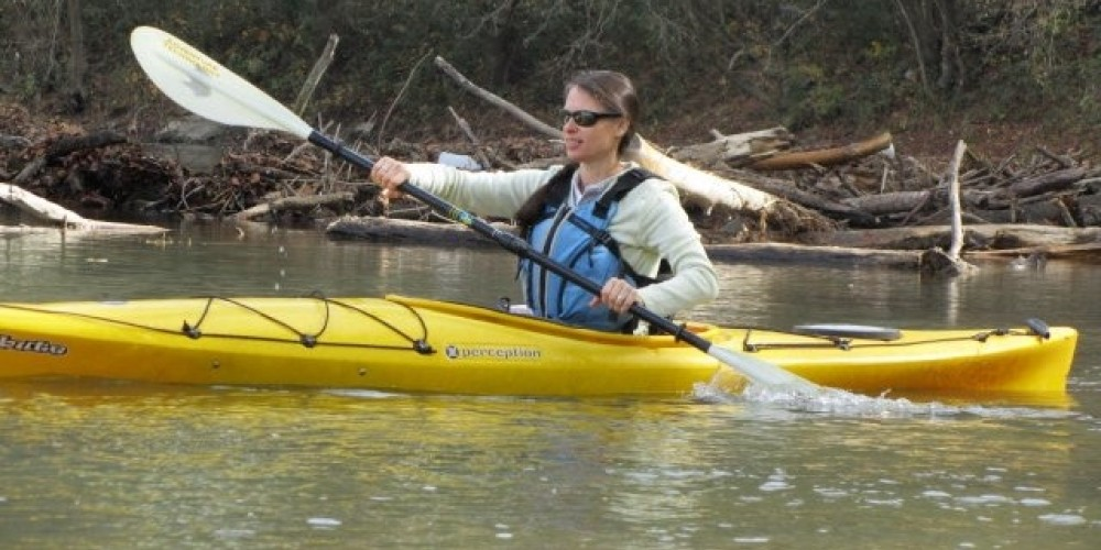 Paddling on the Class 1 Powell River – Don Oakley