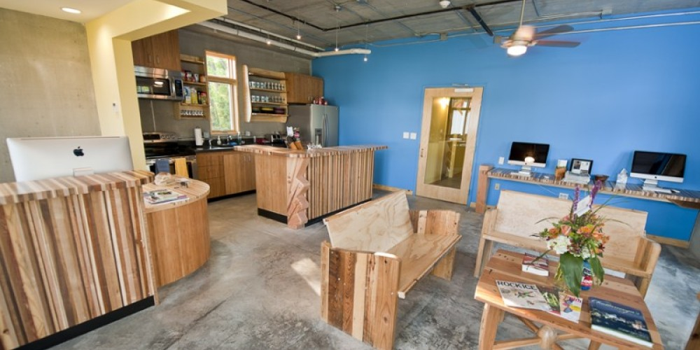 Our reception area/kitchen/information center/living-room. All wood work is done by local artist Matt Sears and his talented employees at Haskel Sears Design. www.haskelsearsdesign.com – Mandy Rhoden