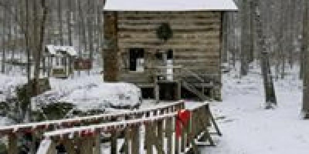 Restored Cabin, aka Well House, in winter. – FaceBook