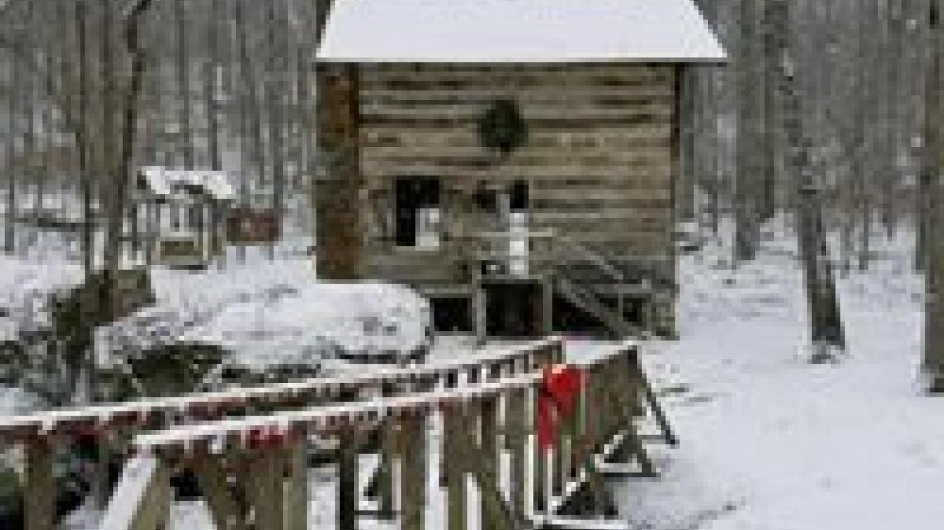 Restored Cabin, aka Well House, in winter. – FaceBook