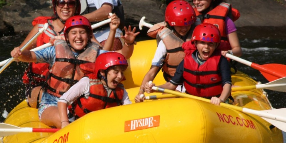 Enjoy whitewater rafting on the splashy Pigeon River - fun for the whole family!