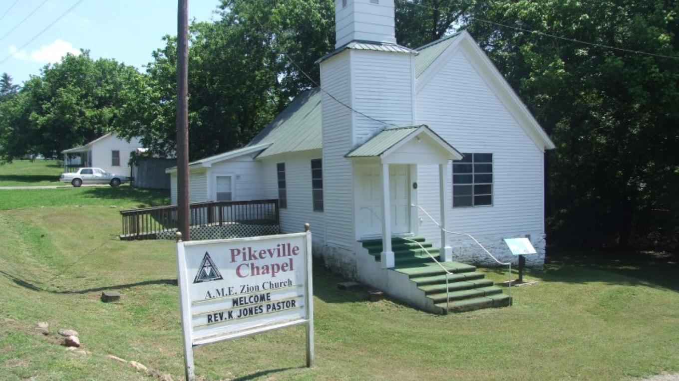 The core of the Pikeville A.M.E. Zion Church dates from about 1870 when it served as a Freedmen's Bureau school. – Paul Archambault