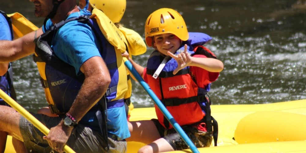This young man was read for the rapids and looking forward to a great time Rafting in the Smokies