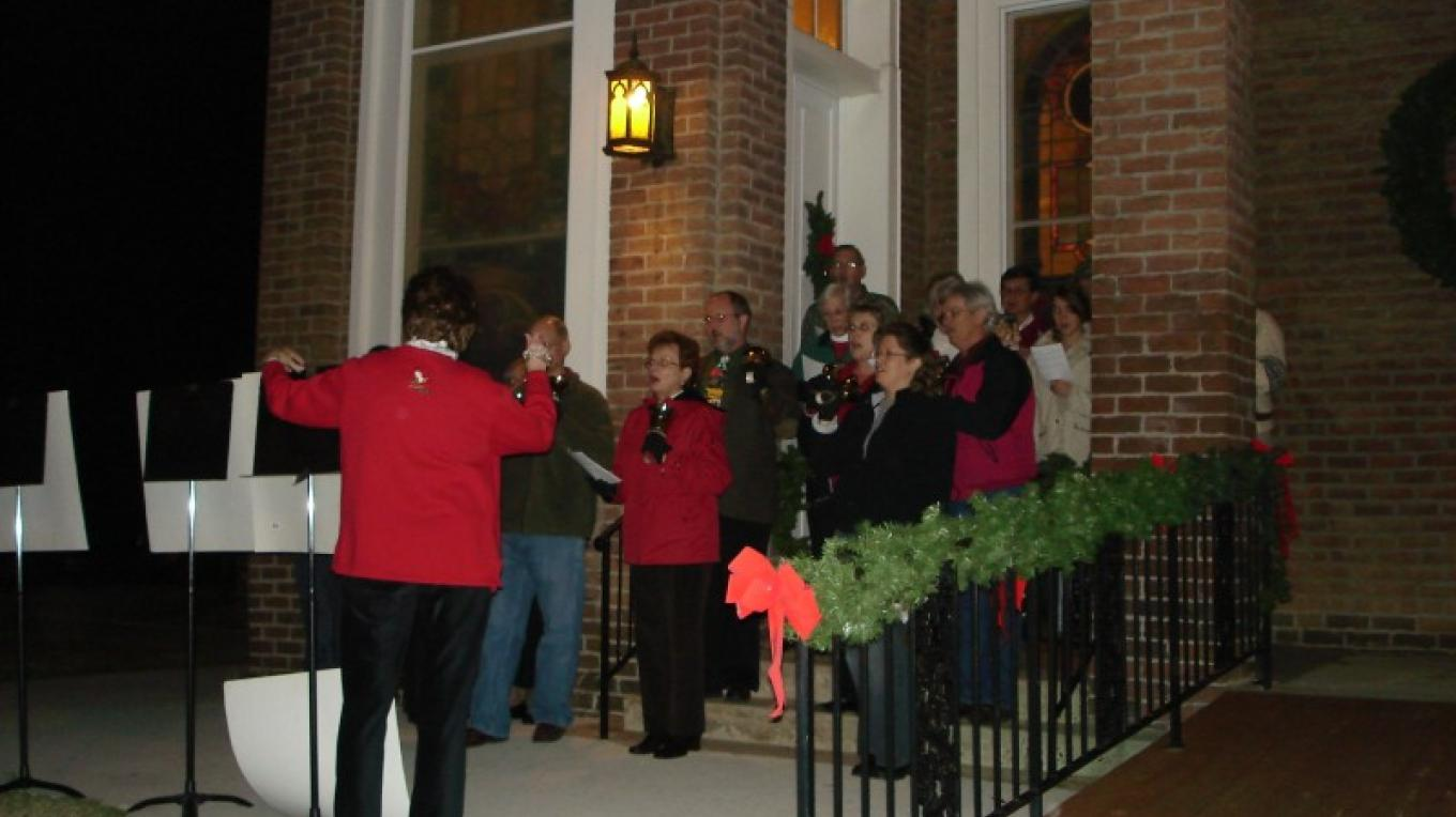 Choirs present sounds of the season on the steps of each church on the trail. – Melissa Woody