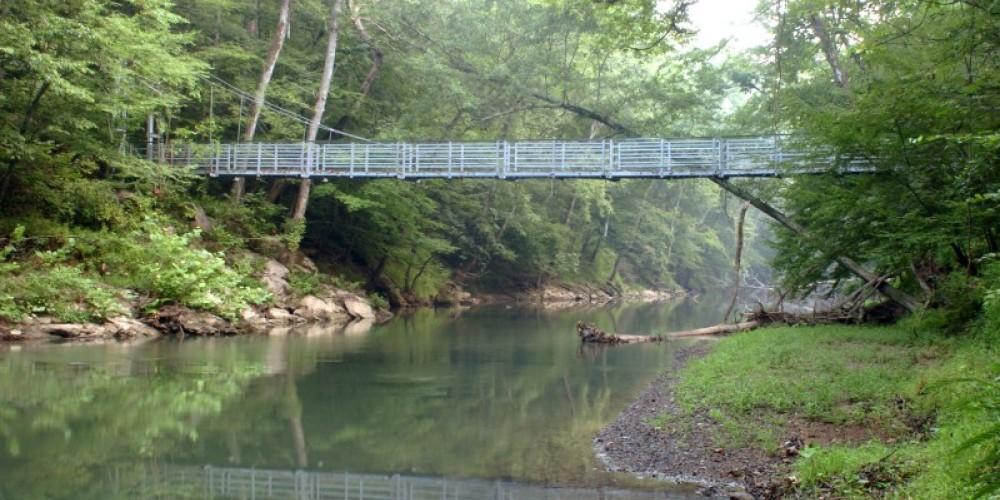 Swinging bridge over South Chickamauga Creek at Audubon Acres – Chattanooga Audubon Society