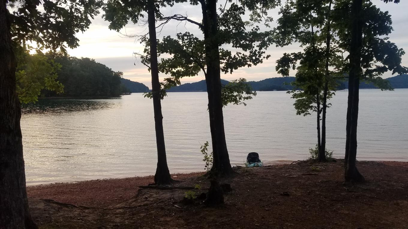 Endless flatwater paddling exploration potential and backcountry camping aplenty predominates on the backside of South Holston Reservoir.
