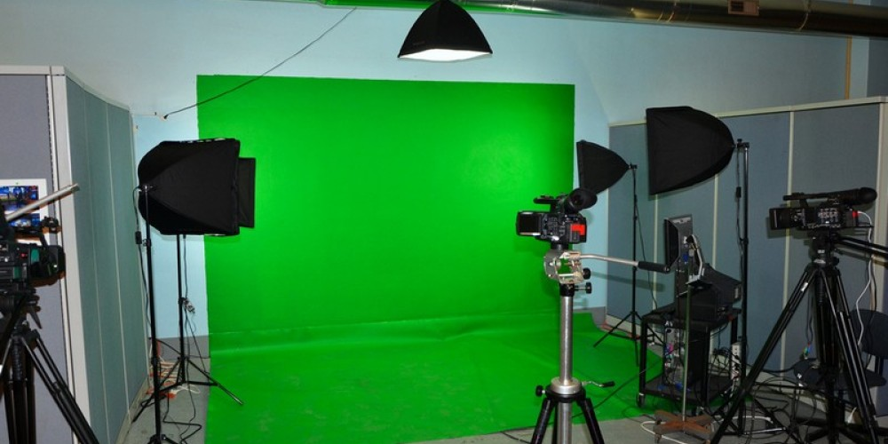 """The """"green screen"""" area of the new Channel 15 studio within the Princess Complex. – J. Paul Mashburn"""