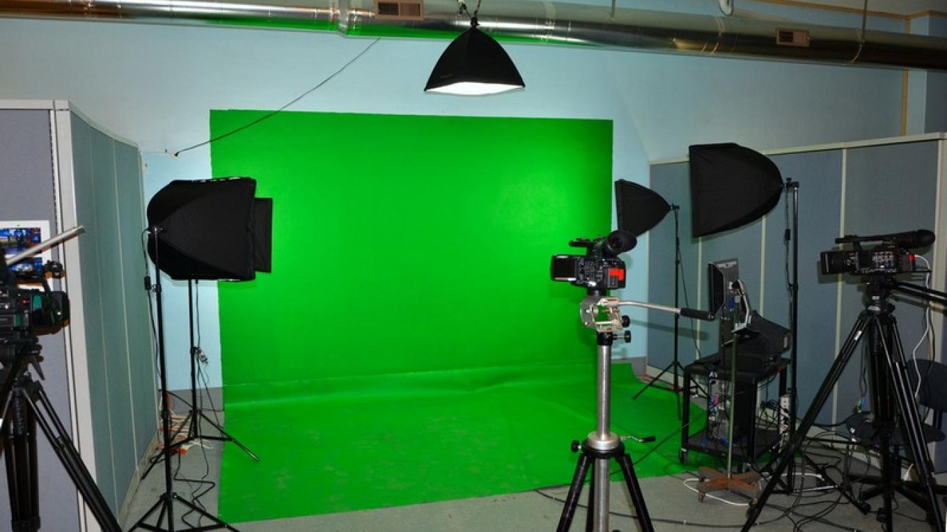 "The ""green screen"" area of the new Channel 15 studio within the Princess Complex. – J. Paul Mashburn"
