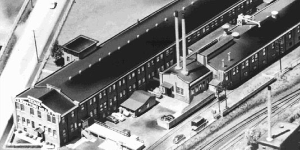 Early aerial photograph showing The Knitting Mill, circa 1930's. – unknown