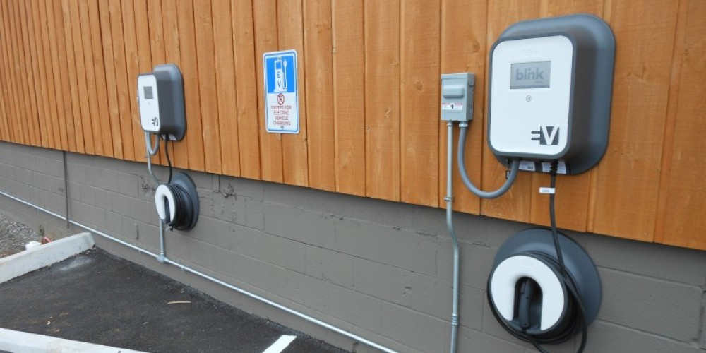 Two electric vehicle chargers in the parking lot – Three Rivers Market