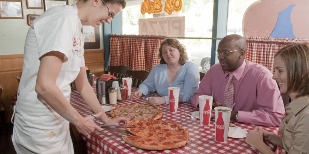 Big Ed's Pizza is all about the atmosphere. It's a no frills kind of piace where the pizza is cut with scissors. – Theresa Montgomery, TN State Photo Services