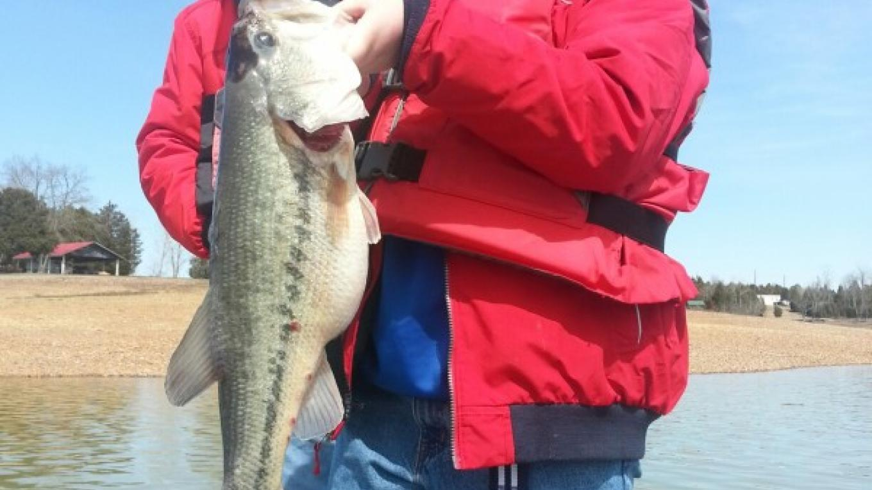 Young mans first big bass!