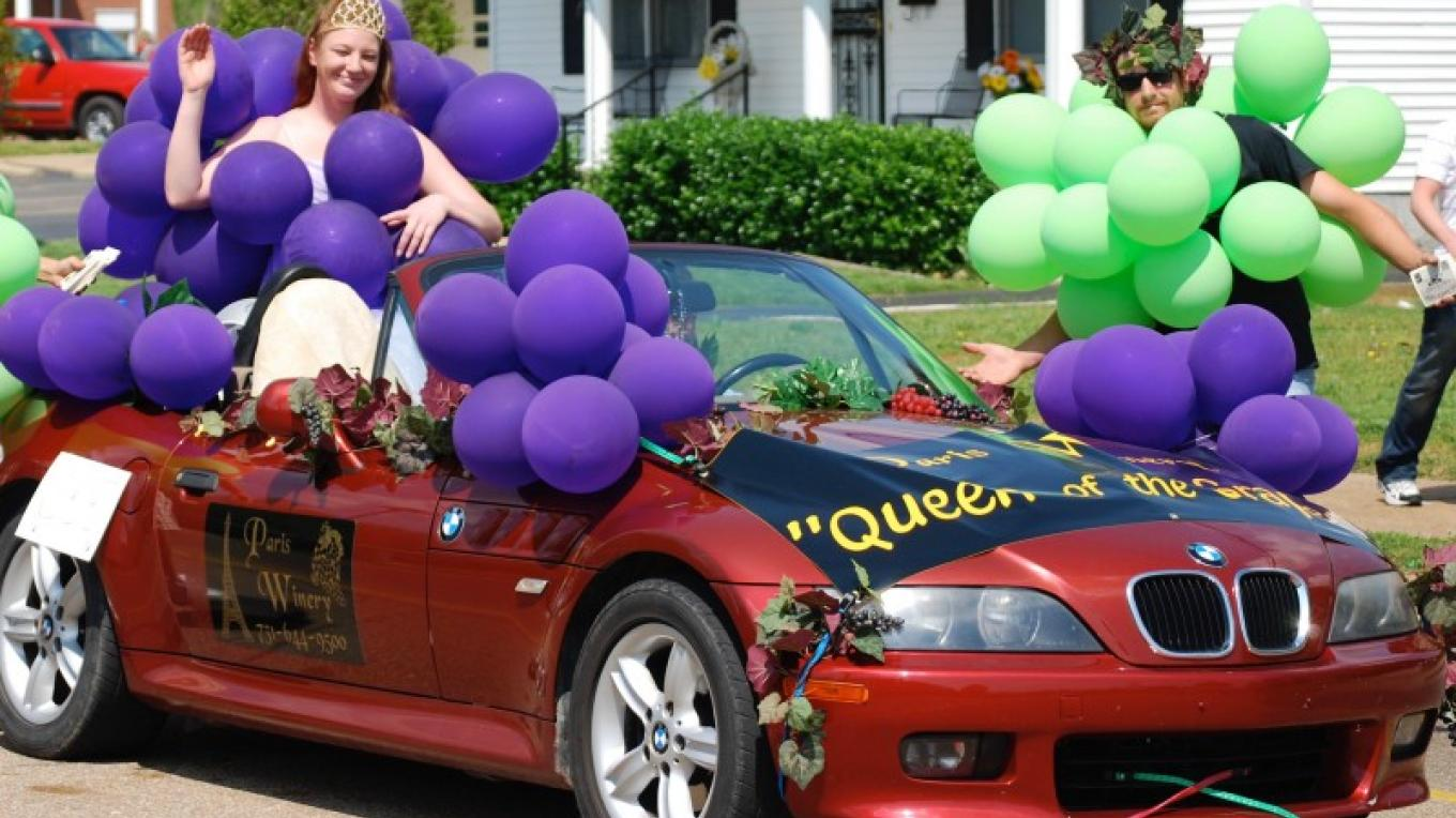 Paris Winery's Queen of the Grape Harvest always makes an appearance at the World's Biggest Fish Fry Grand Parade. – Susan Jones