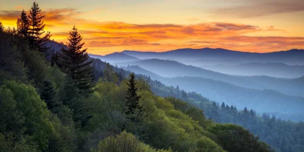 Great Smoky Mountains National Park Scenic Sunrise Landscape at Oconaluftee Overlook between Cherokee NC and Gatlinburg TN – Dave Allen Photography