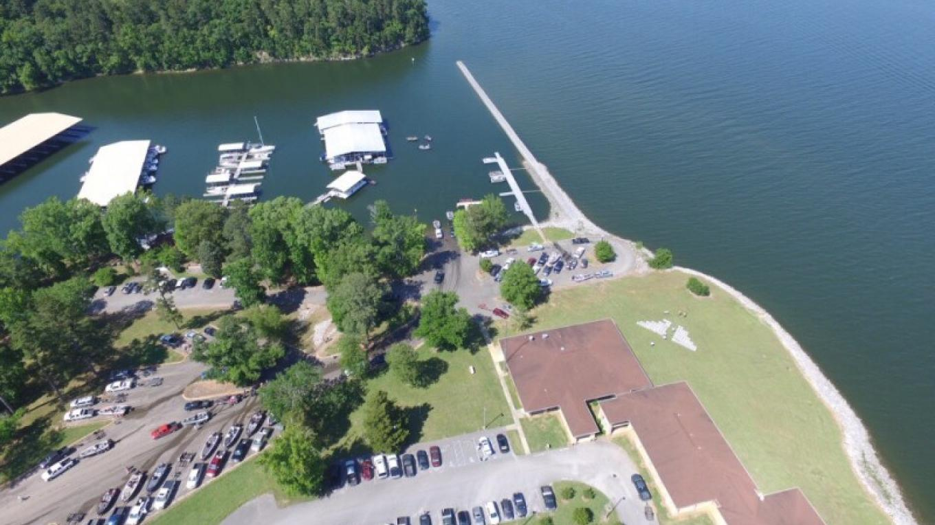 Aerial view of transient boat facility and ramp area. – Stock photo provided by State Park.